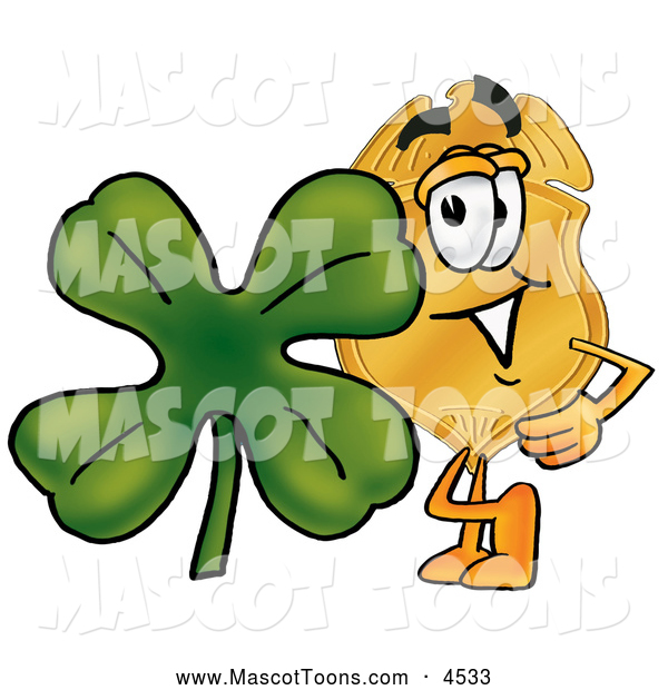 Mascot Cartoon of a Police Badge Mascot Cartoon Character with a Green Four Leaf Clover on St Paddy