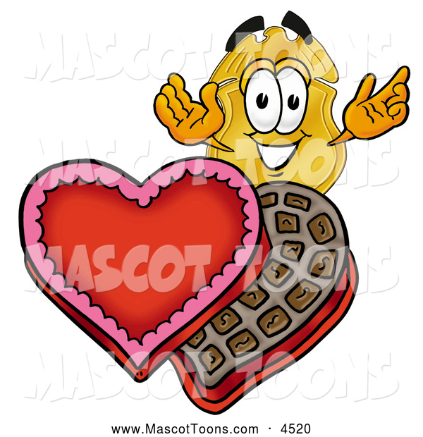 Mascot Cartoon of a Police Badge Mascot Cartoon Character with an Open Box of Valentines Day Chocolate Candies