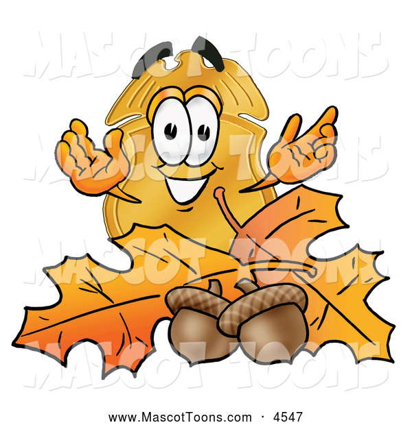 Mascot Cartoon of a Police Badge Mascot Cartoon Character with Autumn Leaves and Acorns in the Fall