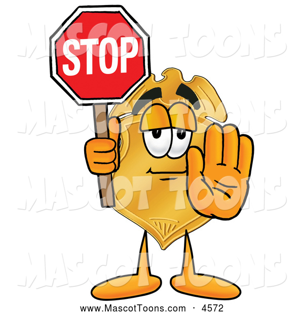 Mascot Cartoon of a Professional Badge Mascot Cartoon Character Holding a Stop Sign