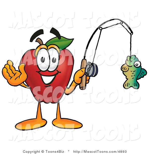 Mascot Cartoon of a Red Apple Character Mascot Holding a Fish on a Fishing Line