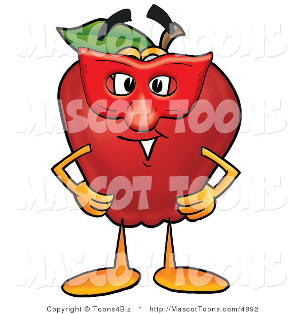 Mascot Cartoon of a Silly Red Apple Character Mascot Wearing a Red Mask on Halloween