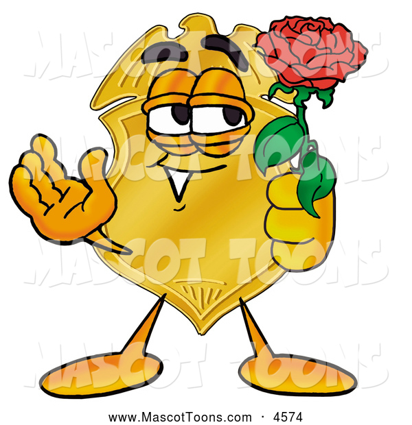 Mascot Cartoon of a Smiling Badge Mascot Cartoon Character Holding a Red Rose on Valentines Day