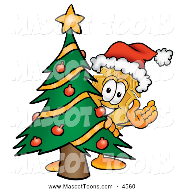 Mascot Cartoon of a Smiling Badge Mascot Cartoon Character Waving and Standing by a Decorated Christmas Tree