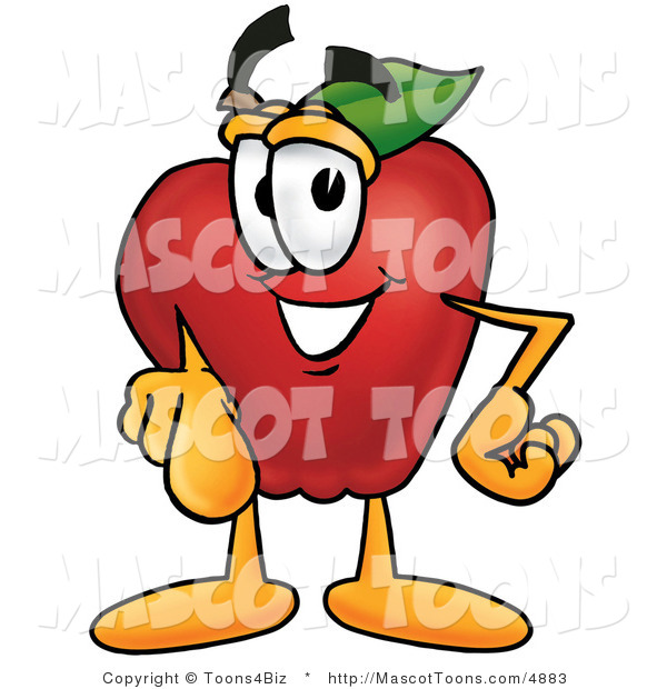 Mascot Cartoon of a Smiling Red Apple Character Mascot Pointing at the Viewer
