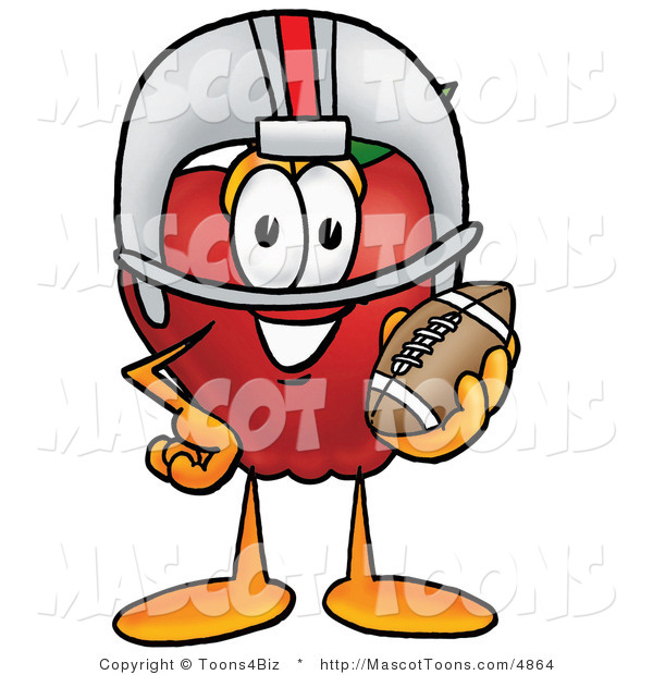 Mascot Cartoon of a Sporty and Nutritious Red Apple Character Mascot in a Helmet, Holding a Football