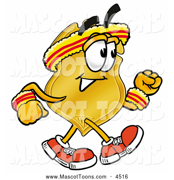 Mascot Cartoon of a Sporty Badge Mascot Cartoon Character Speed Walking or Jogging