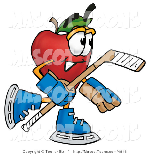 Mascot Cartoon of a Sporty Healthy Red Apple Character Mascot Playing Ice Hockey