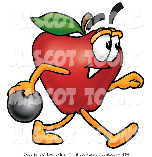 Mascot Cartoon of a Sporty Nutritious Red Apple Character Mascot Holding a Bowling Ball