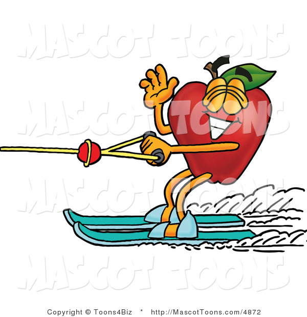Mascot Cartoon of a Sporty Nutritious Red Apple Character Mascot Waving and Water Skiing