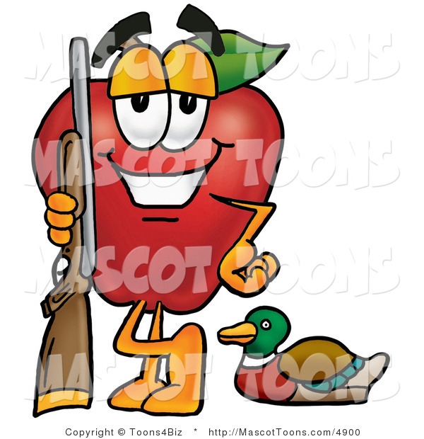 Mascot Cartoon of a Sporty Red Apple Character Mascot Duck Hunting, Standing with a Rifle and Duck