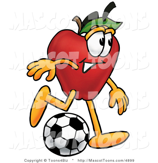 Mascot Cartoon of an Athletic Red Apple Character Mascot Kicking a Soccer Ball