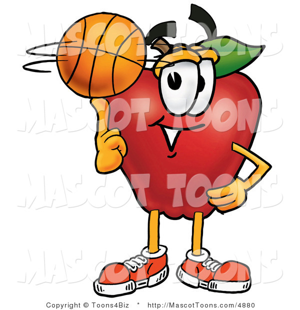Mascot Cartoon of an Athletic Red Apple Character Mascot Spinning a Basketball on His Finger