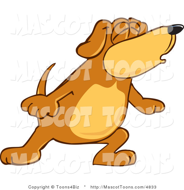 Mascot Vector Cartoon of a Brown and Tan Dog Mascot Cartoon Character with Closed Eyes, Singing or Howling