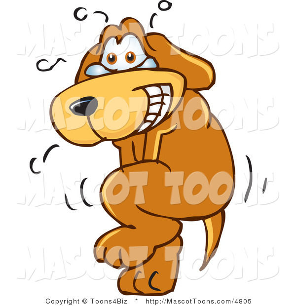 Mascot Vector Cartoon of a Brown Dog Mascot Cartoon Character Trying to Hold It In, but Has to Go Potty