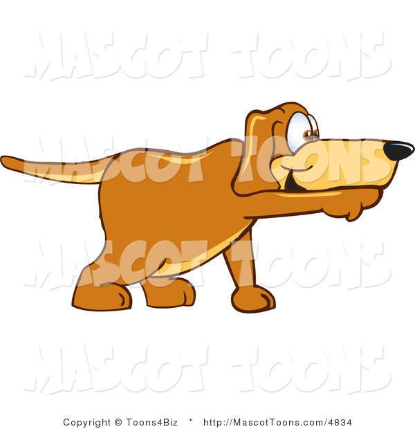Mascot Vector Cartoon of a Brown Pointer Dog Mascot Cartoon Character Pointing While Sniffing Something out