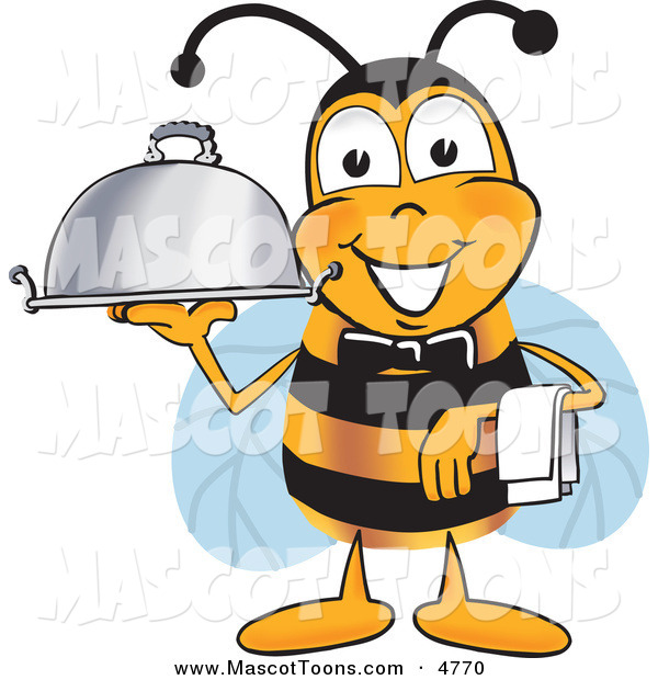 Mascot Vector Cartoon of a Bumble Bee Mascot Cartoon Character Dressed As a Servant, Carrying a Food Platter