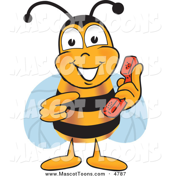 Mascot Vector Cartoon of a Bumble Bee Mascot Cartoon Character Holding and Pointing to a Telephone