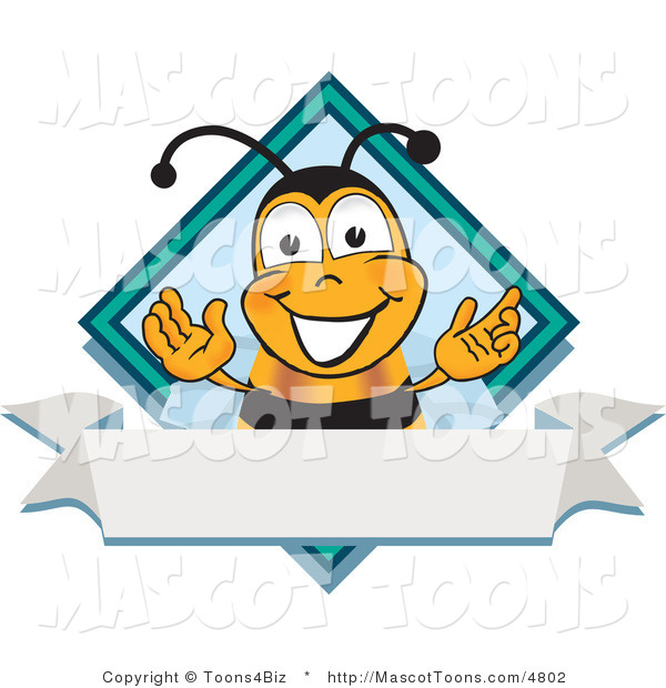 Mascot Vector Cartoon of a Bumble Bee Mascot Cartoon Character on a Blank White Label