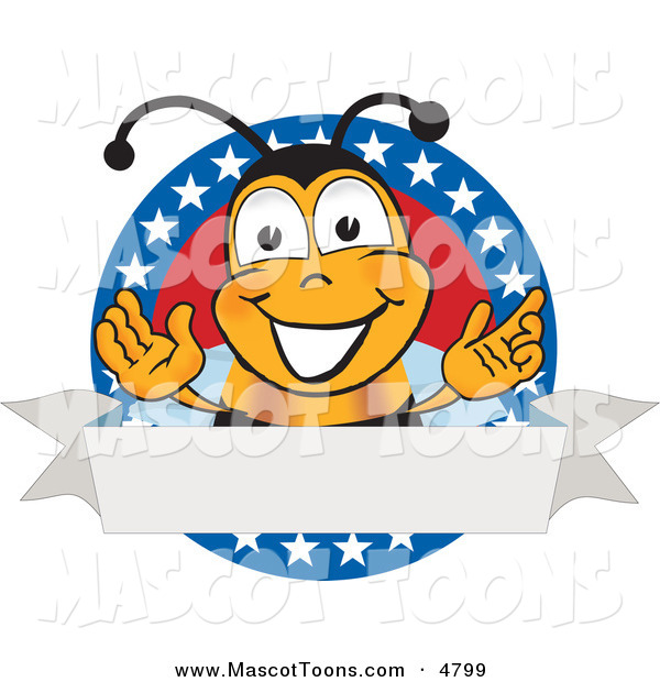 Mascot Vector Cartoon of a Bumble Bee Mascot Cartoon Character with Stars on a Blank LabelBumble Bee Mascot Cartoon Character with Stars on a Blank Label