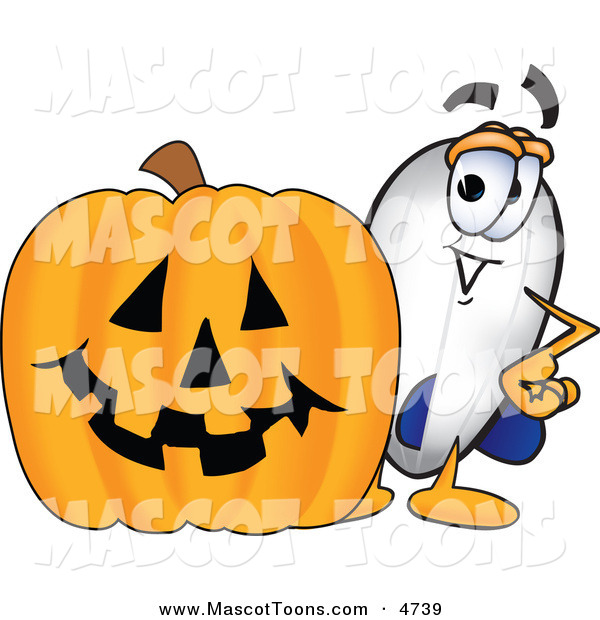 Mascot Vector Cartoon of a Cheerful Blimp Mascot Cartoon Character with a Carved Halloween Pumpkin