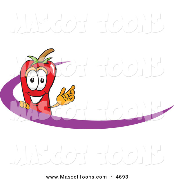 Mascot Vector Cartoon of a Cheerful Chili Pepper Mascot Cartoon Character Logo with a Purple Dash