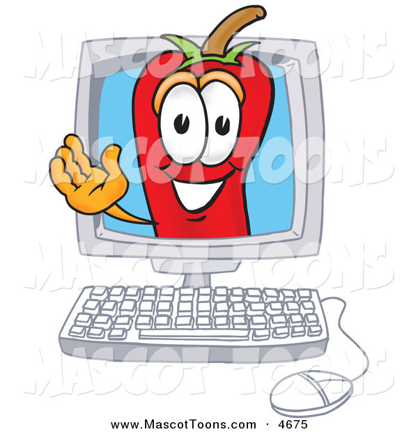 Mascot Vector Cartoon of a Cheerful Chili Pepper Mascot Cartoon Character Waving in a Computer Screen