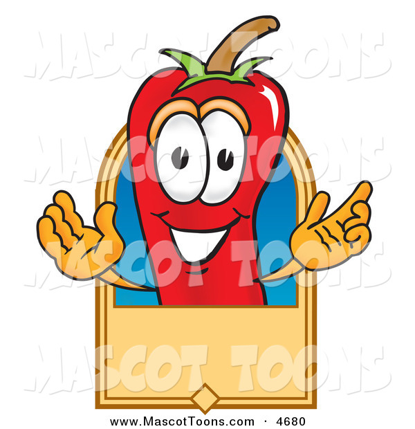 Mascot Vector Cartoon of a Cheerful Chili Pepper Mascot Cartoon Character with a Blank Tan Label