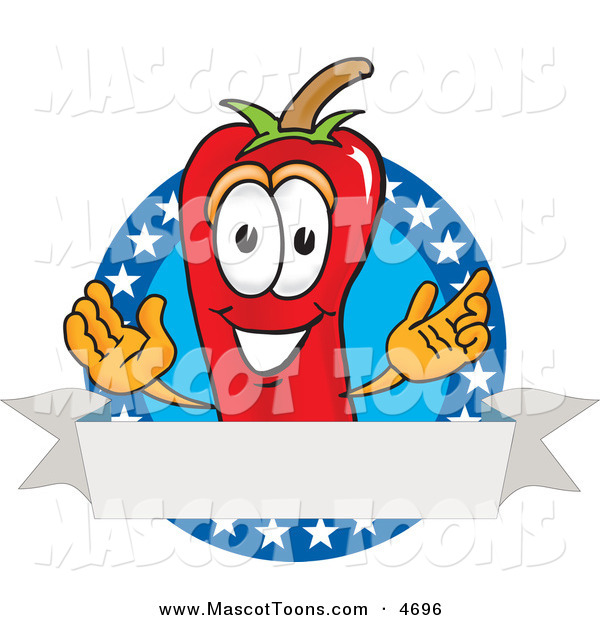 Mascot Vector Cartoon of a Cheerful Chili Pepper Mascot Cartoon Character with Stars and a Blank Label