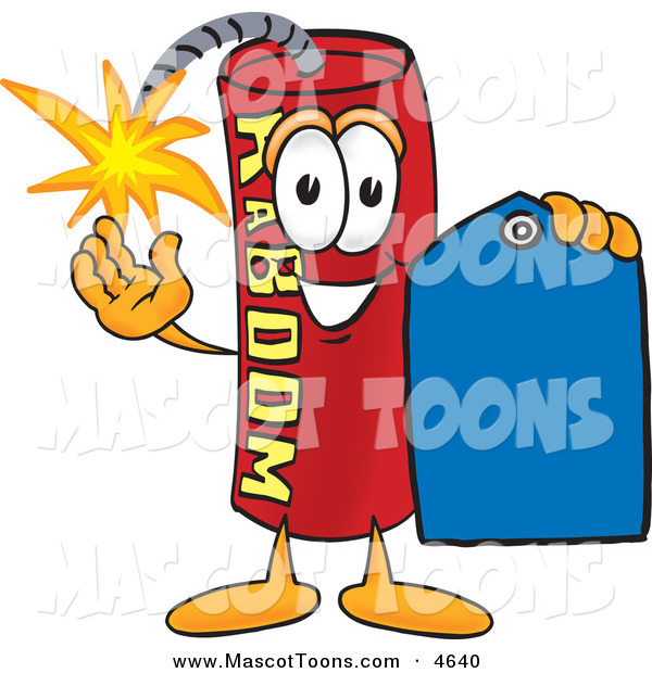 Mascot Vector Cartoon of a Cheerful Dynamite Mascot Cartoon Character Holding a Blue Sales Price Tag