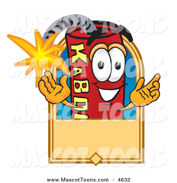 Mascot Vector Cartoon of a Cheerful Dynamite Mascot Cartoon Character with a Tan Label
