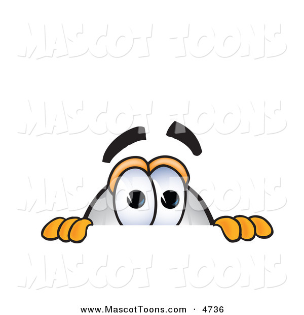 Mascot Vector Cartoon of a Curious Blimp Mascot Cartoon Character Scared and Peeking over a Surface