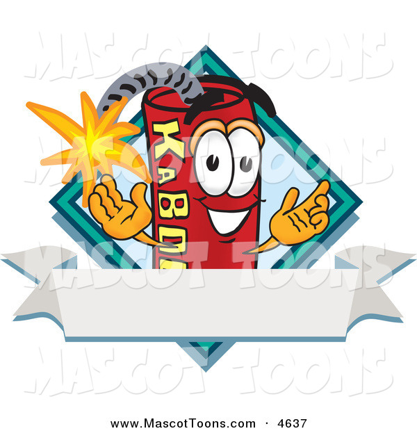 Mascot Vector Cartoon of a Cute Red Dynamite Mascot Cartoon Character with a Blank Ribbon Label