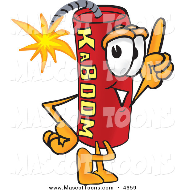 Mascot Vector Cartoon of a Dynamite Mascot Cartoon Character Pointing Upwards on White