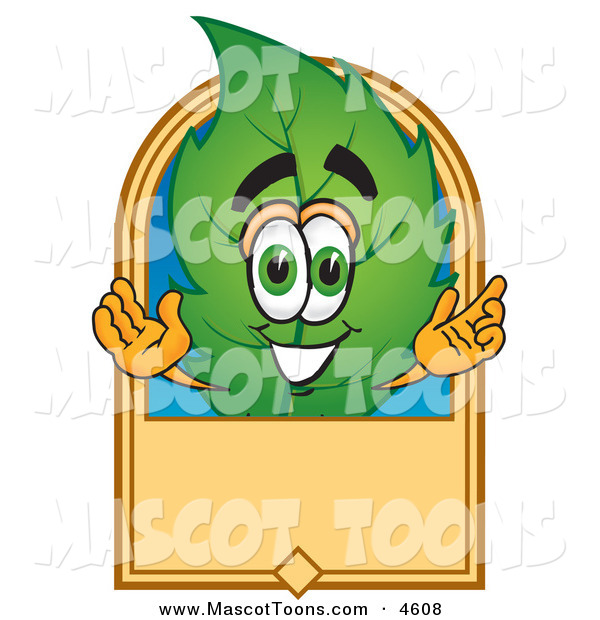 Mascot Vector Cartoon of a Eco Friendly Leaf Mascot Cartoon Character with a Blank Tan Label