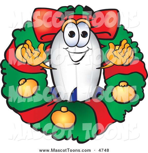 Mascot Vector Cartoon of a Festive Blimp Mascot Cartoon Character in the Center of a Christmas Wreath