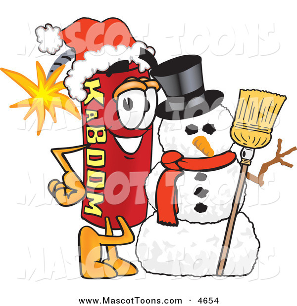 Mascot Vector Cartoon of a Festive Dynamite Mascot Cartoon Character with a Snowman on Christmas on White