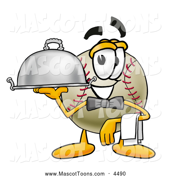 Mascot Vector Cartoon of a Friendly Baseball Mascot Cartoon Character Dressed As a Waiter and Holding a Serving Platter