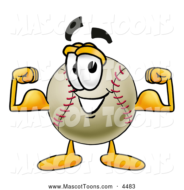 Mascot Vector Cartoon of a Friendly Baseball Mascot Cartoon Character Flexing His Arm Muscles