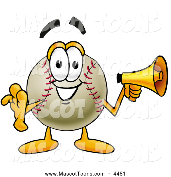 Mascot Vector Cartoon of a Friendly Baseball Mascot Cartoon Character Holding a Megaphone