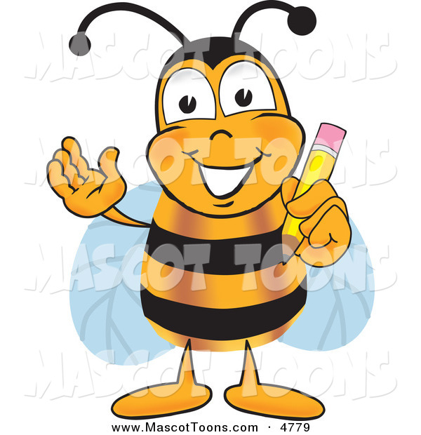 Mascot Vector Cartoon of a Friendly Bee Mascot Cartoon Character Holding a Pencil