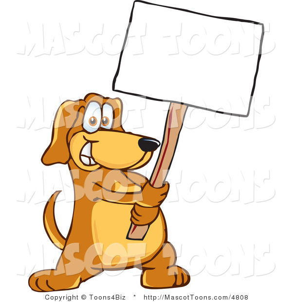 Mascot Vector Cartoon of a Friendly Happy Brown Dog Mascot Cartoon Character Holding a Blank White Sign