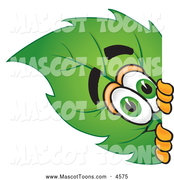 Mascot Vector Cartoon of a Friendly Leaf Mascot Cartoon Character Peeking Around a Corner