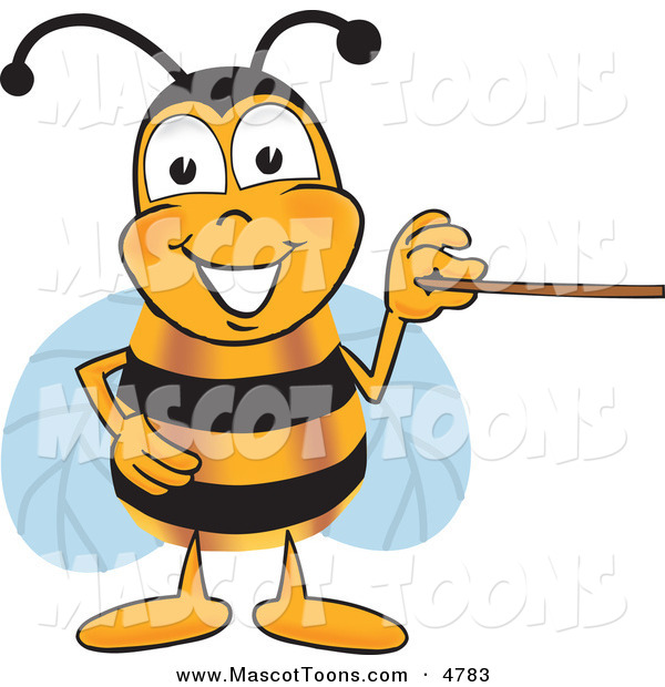 Mascot Vector Cartoon of a Grinning Bee Mascot Cartoon Character Holding a Pointer Stick
