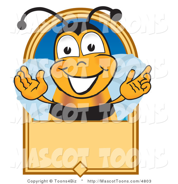 Mascot Vector Cartoon of a Grinning Bee Mascot Cartoon Character on a Blank Tan Label