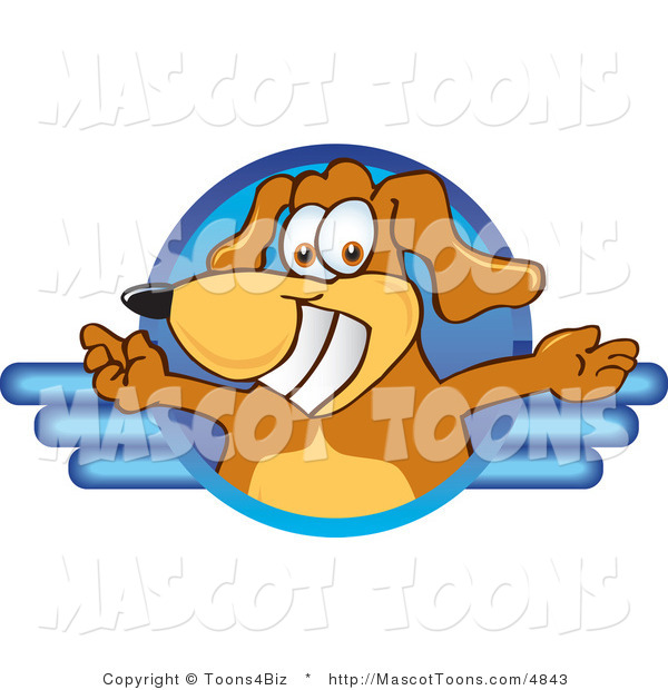 Mascot Vector Cartoon of a Grinning Brown Dog Mascot Cartoon Character Logo with Open Arms on Blue Lines