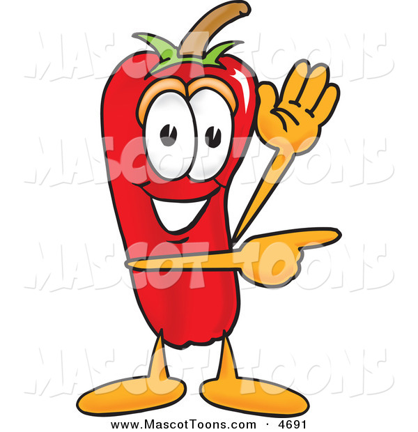Mascot Vector Cartoon of a Grinning Chili Pepper Mascot Cartoon Character Waving and Pointing