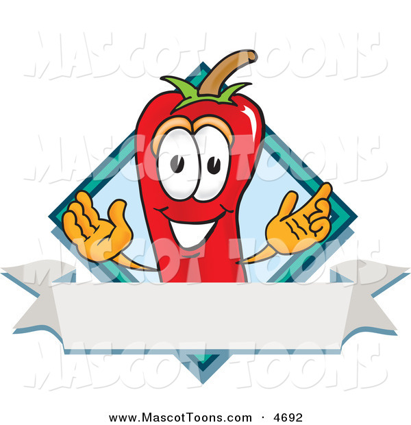Mascot Vector Cartoon of a Grinning Chili Pepper Mascot Cartoon Character with a Blue Diamond and Blank Label