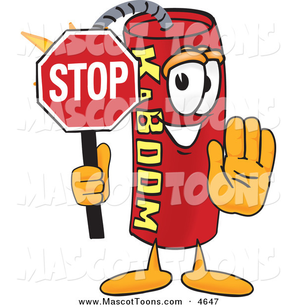 Mascot Vector Cartoon of a Grinning Dynamite Mascot Cartoon Character Holding a Stop Sign
