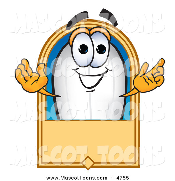 Mascot Vector Cartoon of a Grinning White Blimp Mascot Cartoon Character with a Blank Label